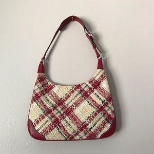 Coach mini red and beige tweed bag